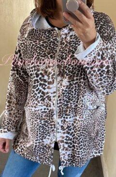 Animal Print Super Soft Zip Up Hoodie - White Mix