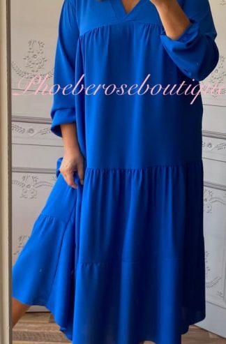 Tiered Smock Long Dress - Royal Blue