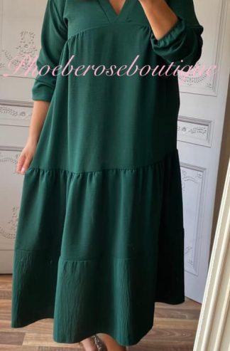 Tiered Smock Long Dress - Dark Green