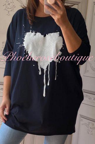 Heart Splash Stretch Jersey Long Sleeve Pocket Tunic Top - Navy