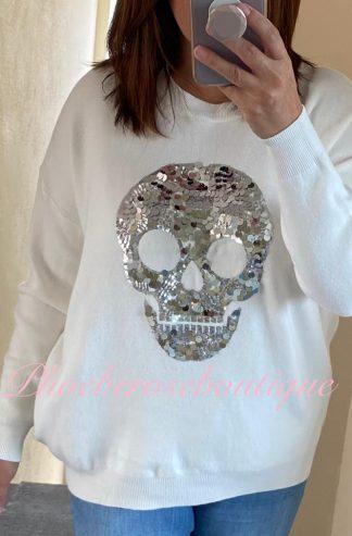 Supersoft Knit Sequin Skull Jumper - Off White