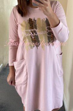 'Beautiful' Jersey Pocket Casual Dress - Soft Pink