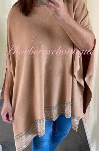 Sparkly Embellished Trim Soft Knit Poncho - Camel