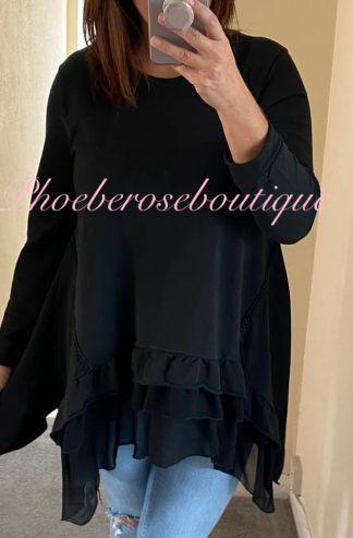 Chiffon Frill Hem Loose Fit Sweat Top - Black
