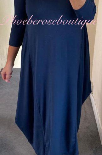 Jersey Drape 3 Quarter Sleeve Dress - Navy
