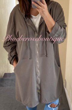 Oversized Zip Up Hooded Jacket - Mocha