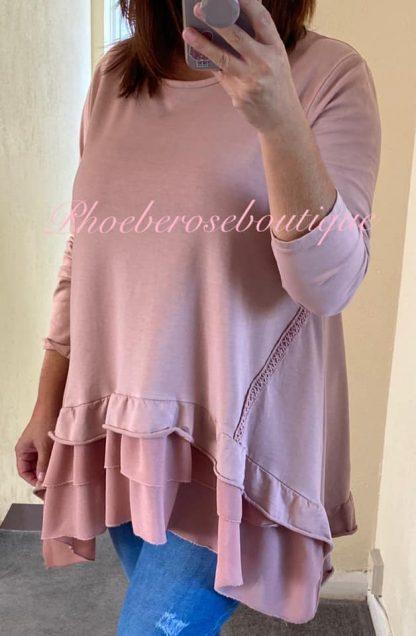 Chiffon Frill Hem Loose Fit Sweat Top - Soft Pink