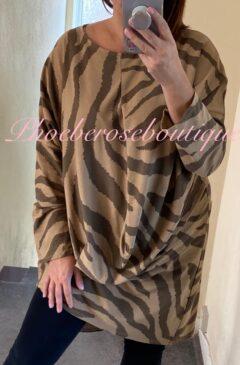 Animal Stripe Asymmetric Drape Longline Tunic/Dress - Camel