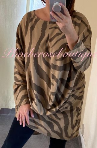 Animal Stripe Asymmetric Drape Longline Tunic/Dress - Camel
