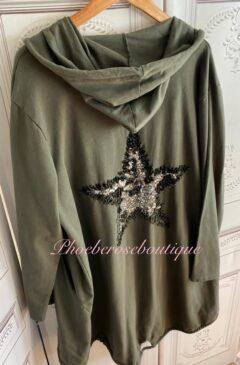 Oversized Sequin Star Zip Up Hooded Jacket - Khaki