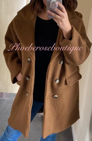 Fluffy Wool Mix Double Breasted Coat - Tan