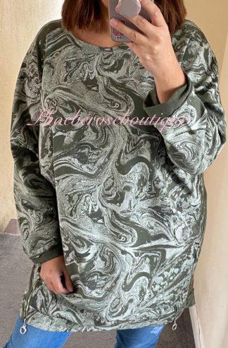 Lux Glitter Swirl Zip Hem Sweat Top - Khaki