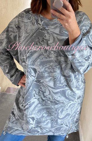 Lux Glitter Swirl Zip Hem Sweat Top - Silver Grey
