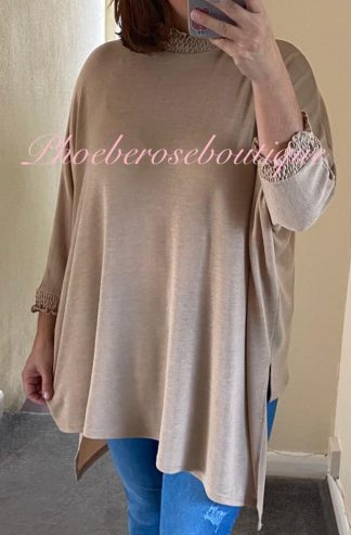 Shirred High Neck and Cuff Fine-knit Jersey Asymmetric Top - Nude
