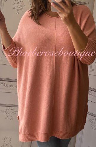 Lux Supersoft Knit Oversized Shorter Sleeve Jumper - Peach Blush