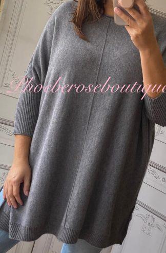 Lux Supersoft Knit Oversized Shorter Sleeve Jumper - Soft Grey