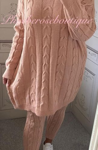 Cable Knit 2 Piece Soft Knit Loungesuit - Soft Pink