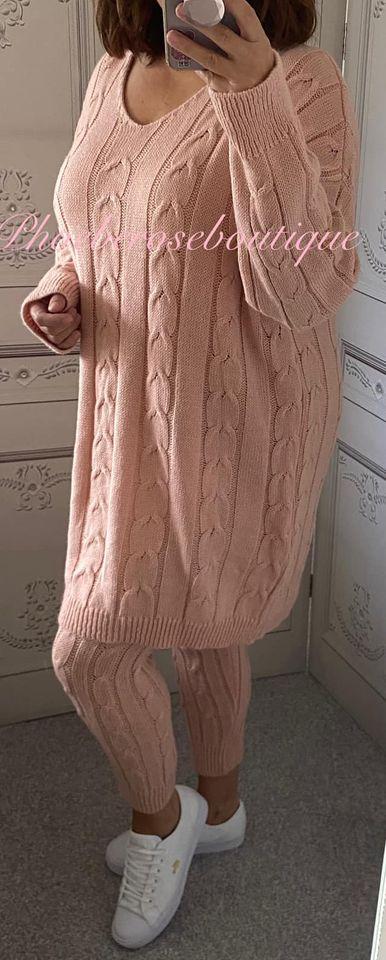 Cable Knit 2 Piece Soft Knit Loungesuit - Soft Pink