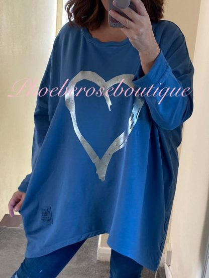 Oversized Foil Heart Print Zip Sweatshirt - Denim Blue