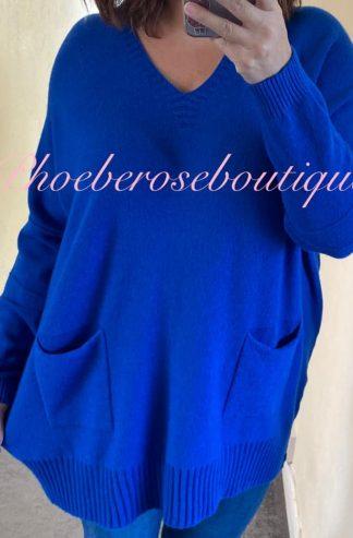 Lux Supersoft Knit Oversized Slouch 2 Pocket Jumper - Royal Blue
