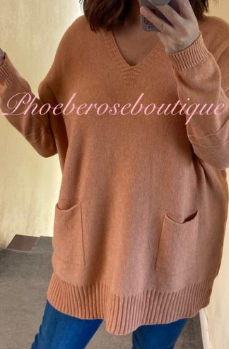 Lux Supersoft Knit Oversized Slouch 2 Pocket Jumper - Camel
