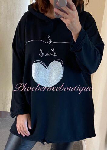 'Be Kind' Metallic Heart Logo Hooded Top - Black
