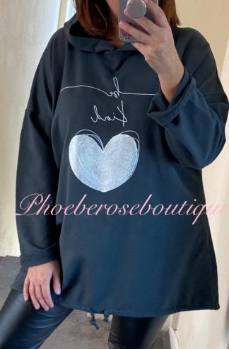 'Be Kind' Metallic Heart Logo Hooded Top - Dark Grey