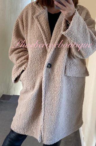 Oversized One Button Teddy Bear Jacket/Coat - Beige