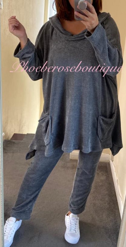 Chenille Hooded Loungesuit - Silver Grey