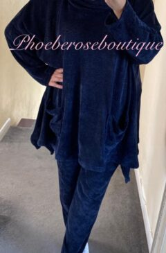 Chenille Hooded Loungesuit - Navy