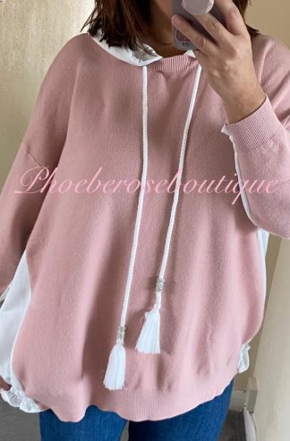 Lux Soft Knit Jersey Panel Hooded Jumper - Soft Pink