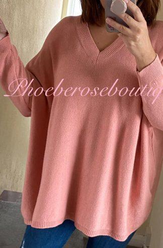 Lux Super Soft Knit V Neck Oversized Jumper - Peachy Pink