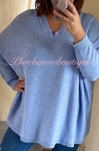 Lux Super Soft Knit V Neck Oversized Jumper - Soft Blue