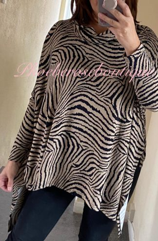 Animal Print cowl Neck Silky Jersey Asymmetric Top