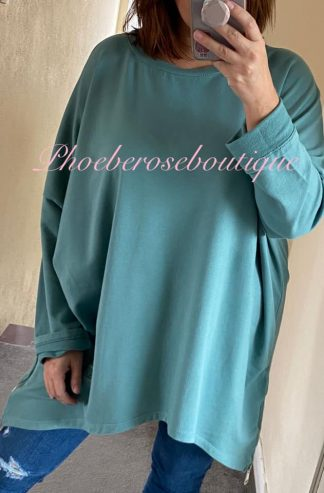 Oversized Zip Side Sweatshirt - Jade