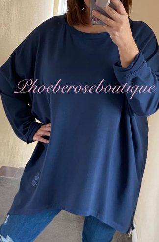 Oversized Zip Side Sweatshirt - Navy