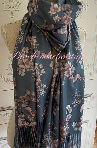 Blossom Print Extra Large Fringed Wool Mix Scarf - Eggshell Blue