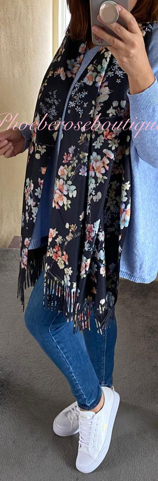 Blossom Print Extra Large Fringed Wool Mix Scarf - Black