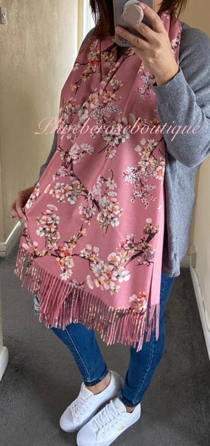 Blossom Print Extra Large Fringed Wool Mix Scarf - Pink