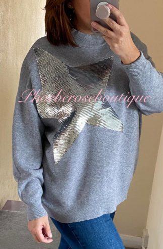 Lux Soft Knit Sequin Star Statement Jumper - Soft Grey