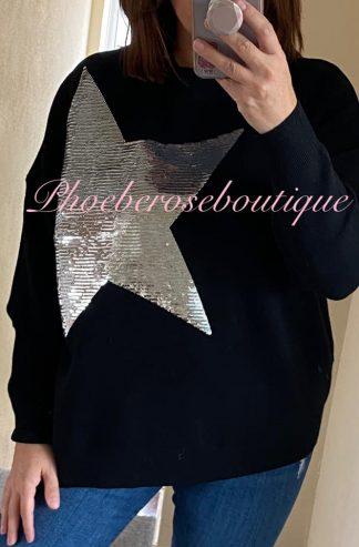 Lux Soft Knit Sequin Star Statement Jumper - Black