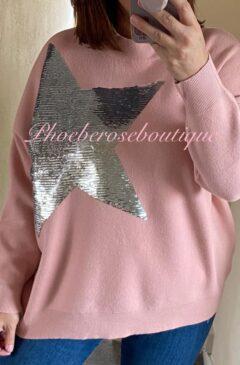 Lux Soft Knit Sequin Star Statement Jumper - Soft Pink