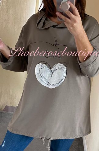 'Be Kind' Metallic Heart Logo Hooded Top - Mocha