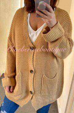 Chunky Knit Oversized Big Button Cardigan - Camel