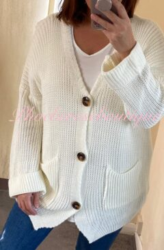 Chunky Knit Oversized Big Button Cardigan - Cream