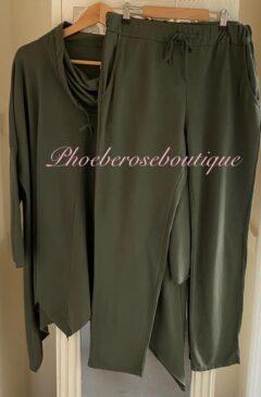 Cowl Neck Asymmetric Hem Loungesuit - Khaki