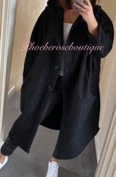 Cocoon Boucle Effect Oversized Hooded Coatigan - Black
