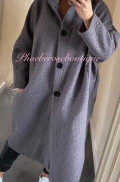 Cocoon Boucle Effect Oversized Hooded Coatigan - Grey