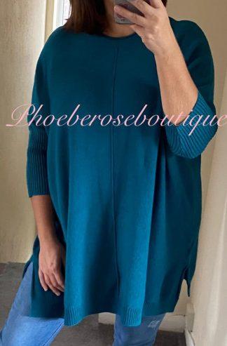Lux Supersoft Knit Oversized Shorter Sleeve Jumper - Teal