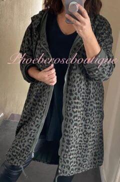Oversized Lepo Zip Up Hooded Jacket - Khaki